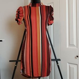 Striped Bodycon Mini Dress w/ Ruched Sleeves